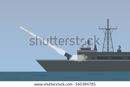 Warship fires Cruise Missiles from the sea in flat icon design (vector) - stock vector