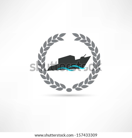 warship icon - stock vector