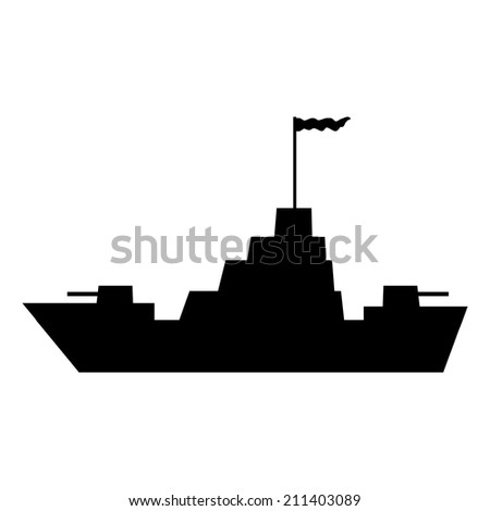 Warship icon on white background. Vector illustration. - stock vector