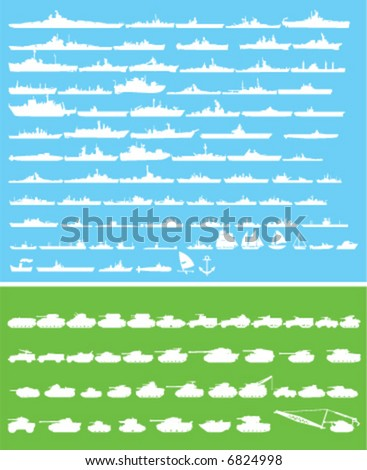 warships and tanks vector shapes - stock vector