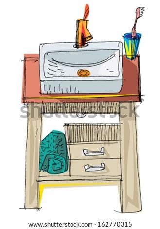 wash basin - cartoon - stock vector