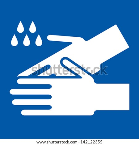 Wash hands sign on blue background - stock vector