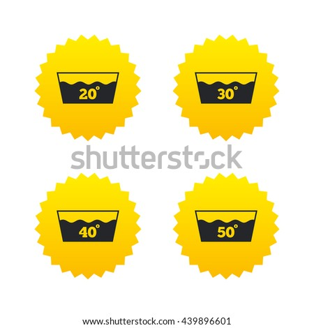 Wash icons. Machine washable at 20, 30, 40 and 50 degrees symbols. Laundry washhouse signs. Yellow stars labels with flat icons. Vector - stock vector