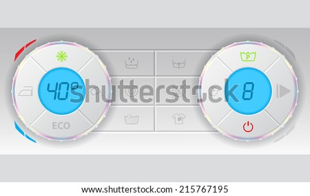 Wash machine control deck with lots of functions - stock vector