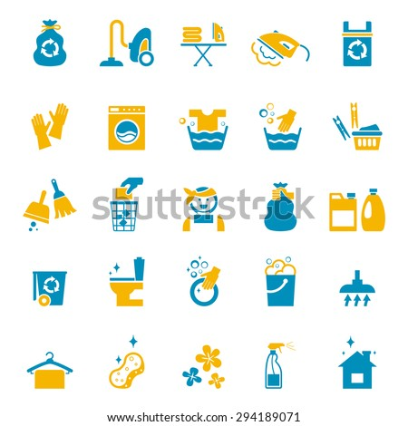 Washing and cleaning icons set. Vacuum and glove, bucket and sponge, cleaner and brush, spray and washing. Vector illustration - stock vector