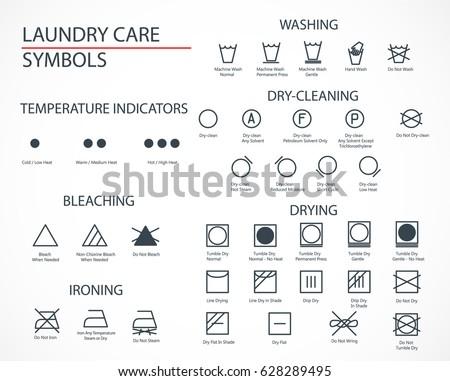 Washing Laundry Icons Set Flat Design Stock Vector Royalty Free