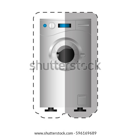 washing machine appliance home cut line vector illustration eps 10