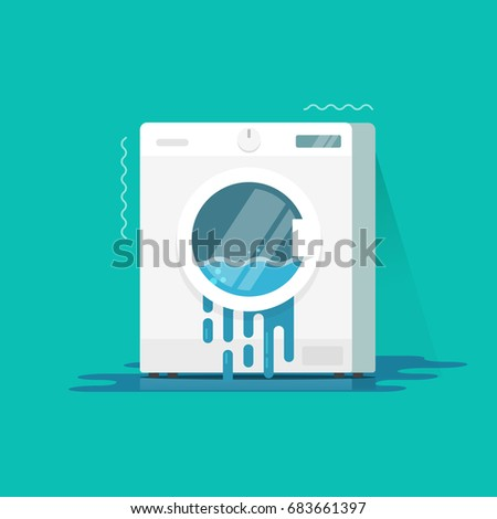 broken washing machine clipart. washing machine broken vector illustration clipart, flat cartoon color damaged washer with water flowing on clipart i
