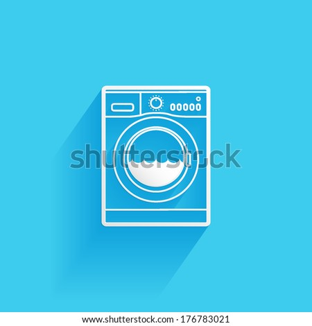 washing machine, flat icon isolated on a blue background for your design, vector illustration