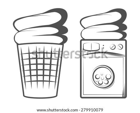 washing machine.  Laundry washer. the Laundry basket - stock vector