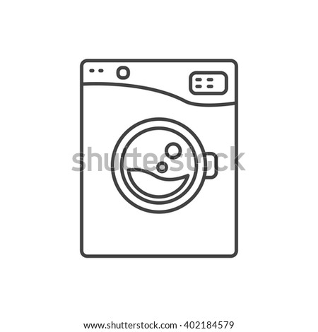 washing machine clipart black and white. washing machine line icon sign isolated. outlined automatic washer symbol. black and white. clipart white e