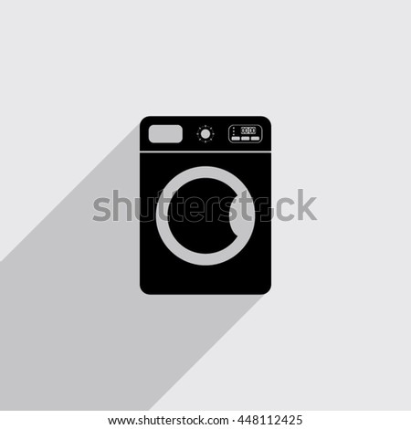 washing machine vector icon with long shadow