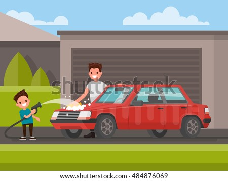 Washing of car outdoors. Father and son are washing car. Vector illustration of a flat design