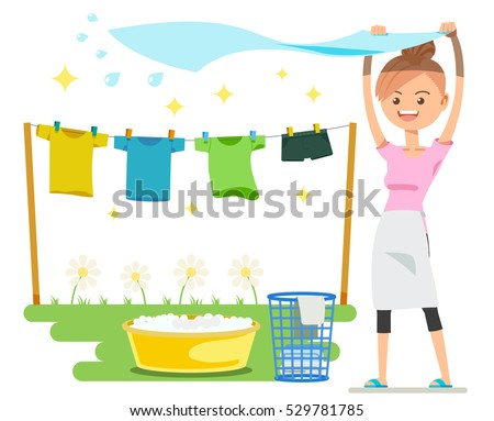 Washing on a sunny day. Holiday activities. The basic housework.