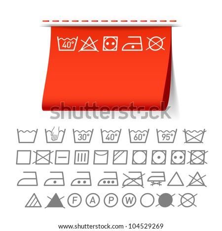 Washing symbols. Vector. - stock vector