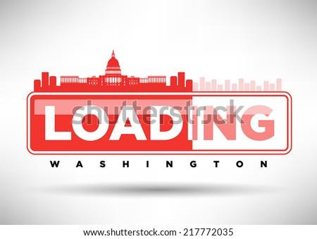 Washington D.C. Skyline Loading Typographic Design - stock vector