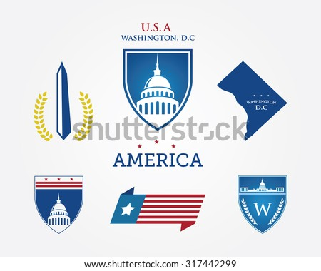 Washington DC. America logo design - stock vector