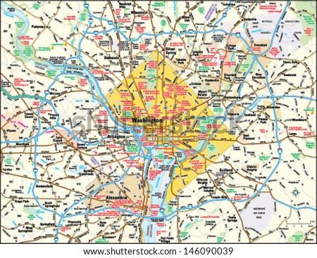 Washington, DC area map - stock vector