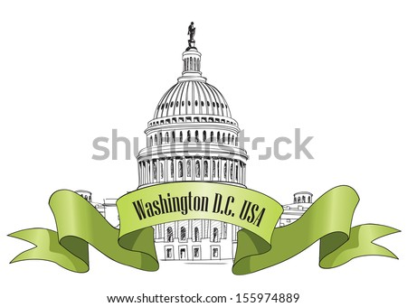 Washington DC Capitol landscape, USA. Hand Drawn Pencil Vector Illustration.  - stock vector