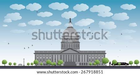 Washington DC Capitol landscape with cloud and blue sky, USA Vector illustration. Business travel and tourism concept with place for text. Image for presentation, banner, placard and web site - stock vector