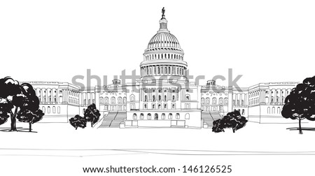 Washington DC Capitol with garden landscape, USA. Hand Drawn Pencil Vector Illustration. - stock vector