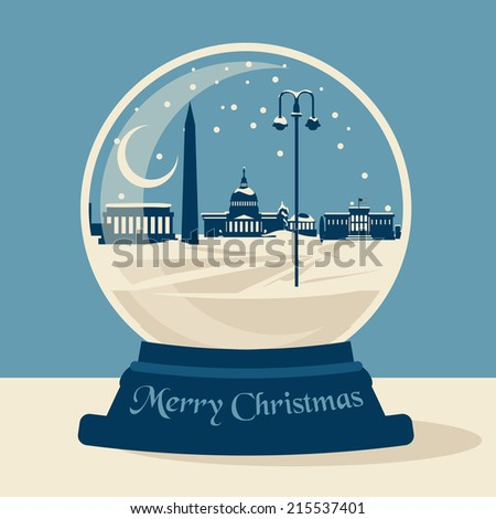 Washington DC Christmas Snow ball - stock vector