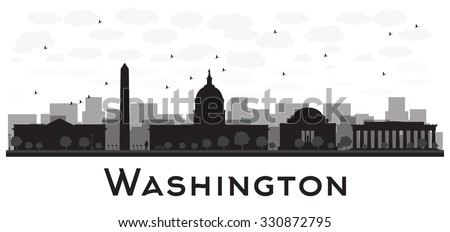 Washington dc city skyline black and white silhouette. Vector illustration. Simple flat concept for tourism presentation, banner, placard or web site. Business travel concept. Cityscape with landmarks - stock vector