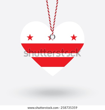 Washington DC flag in the shape of a heart with hang tags - stock vector