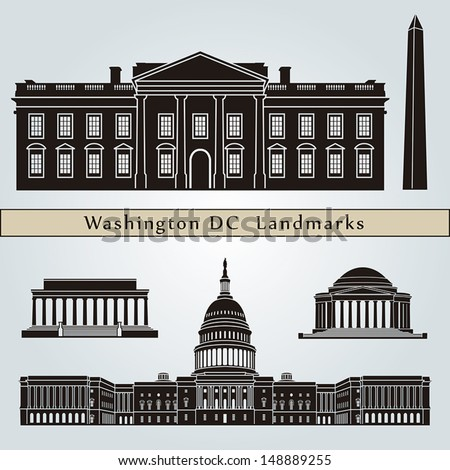 Washington DC landmarks and monuments isolated on blue background in editable vector file - stock vector