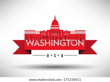Washington DC Skyline Design - stock vector