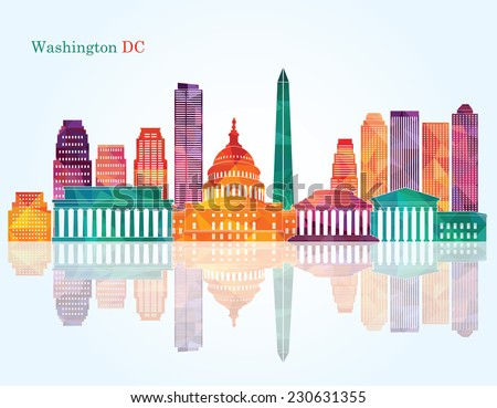 Washington Dc skyline. Vector illustration - stock vector