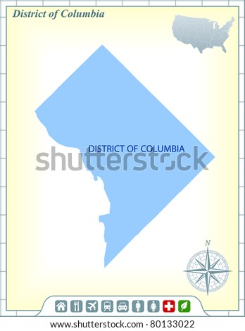 Washington DC State Map with Community Assistance and Activates Icons Original Illustration - stock vector