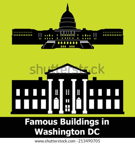 Washington DC., White House, Capitol - stock vector