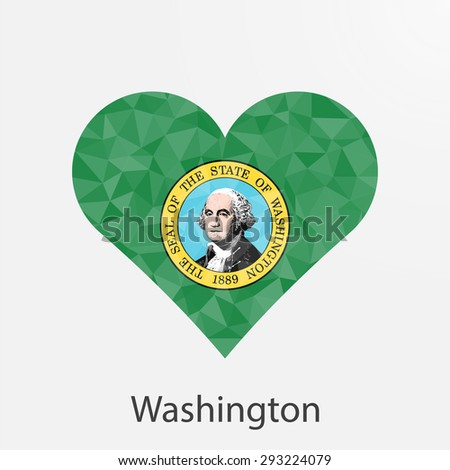 Washington flag heart in geometric,mosaic polygonal style.Love to country and state.Abstract tessellation,background. Vector illustration EPS10 - stock vector
