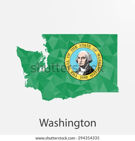 Washington flag map in geometric,mosaic polygonal style.Abstract tessellation,background. Low poly vector illustration EPS10 - stock vector