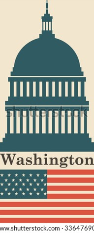 Washington icon background - stock vector