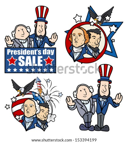 Washington & Lincoln - Presidents Day - Cartoons and Clip-Art - stock vector