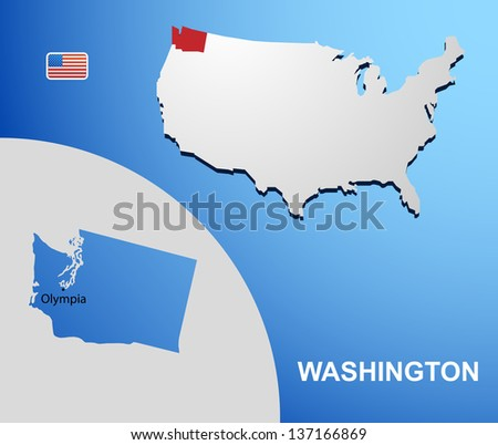 Washington on USA map with map of the state