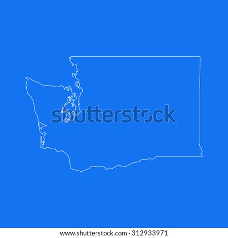 Washington outline map, stroke. Line style. White and blue. Vector EPS8 - stock vector