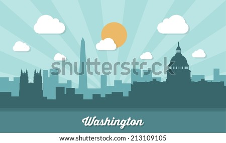 Washington skyline - flat design - vector illustration - stock vector