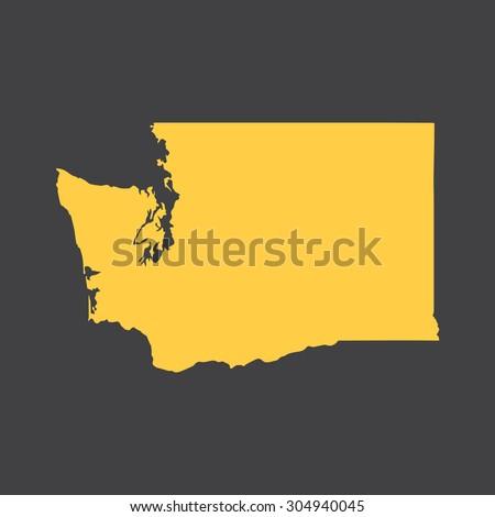 Washington state border,map. Vector EPS8 - stock vector