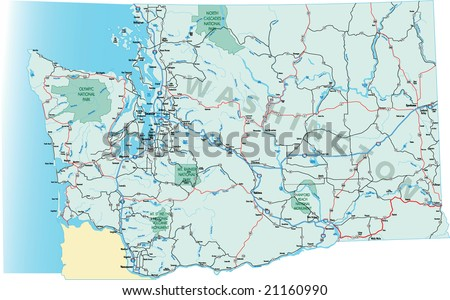 Washington State Highway Map Interstates Us Stock Vector - Us highway map