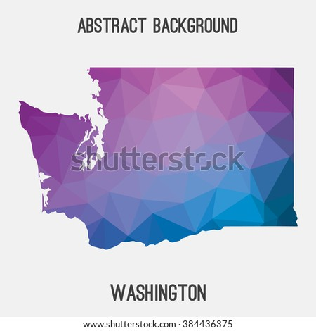 Washington state map in geometric polygonal style.Abstract tessellation,modern design background. Vector illustration EPS8 - stock vector