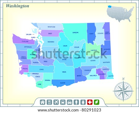 Washington State Map with Community Assistance and Activates Icons Original Illustration - stock vector