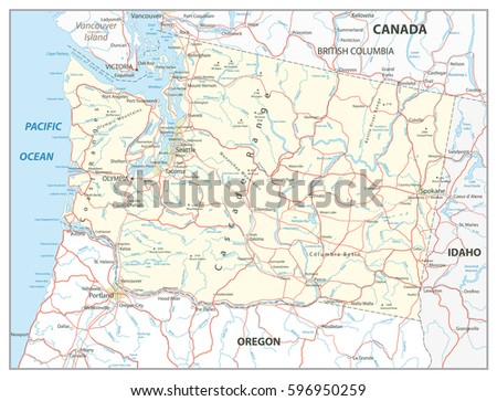 Washington State Map Colorful Map Pointers Stock Vector - Washington state road map
