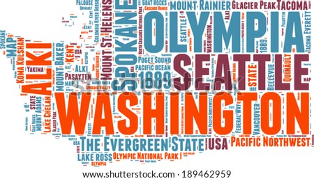 Washington USA state map vector tag cloud illustration - stock vector