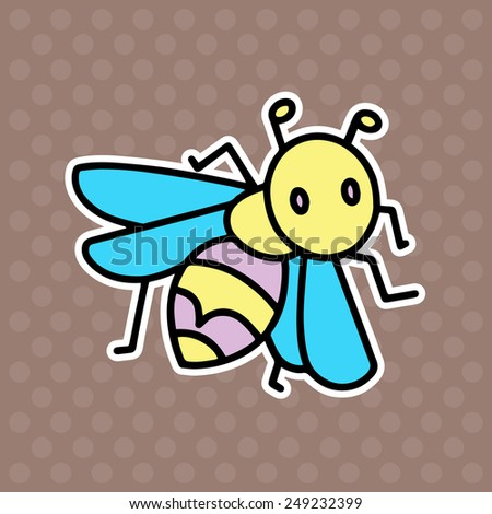 Wasp cartoon illustration isolated on brown background - stock vector