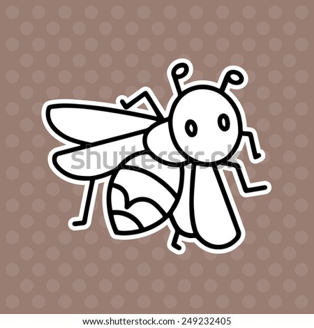 Wasp cartoon illustration isolated on brown background without color - stock vector