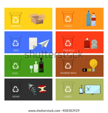Waste bin set vector illustration. Vector Recycle Bin Trash and Garbage icon set