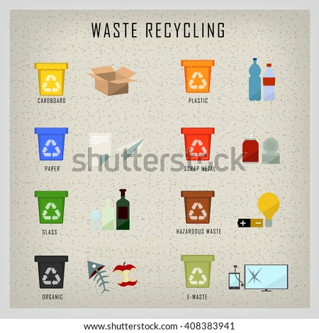 Waste bin set vector illustration. Vector Recycle Bin Trash and Garbage icon set - stock vector
